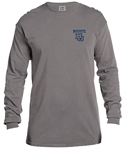 NCAA Marquette Golden Eagles Vintage Poster Comfort Color Long Sleeve T-Shirt, Small,Grey