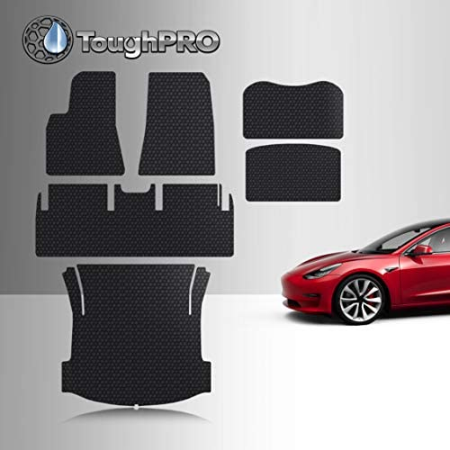 TOUGHPRO Floor Mat Accessories Compatible with Tesla Model 3 – All Weather – Heavy Duty – (Made in USA) – Black Rubber – Mar 2019 – Aug 2019 (Complete Set)