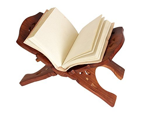 Store Indya Book Stand Wooden Handcraft Display Holder Folding Religious Prayer Free Reading Stand with Intricate Carvings (Brown 3) (Happy Halloween Prayers)