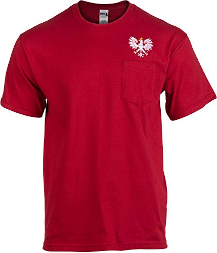 Polish Eagle Pocket Tee | Embroidered Poland Pride Polska Warsaw T-Shirt for Men-(Pocket,L) ()