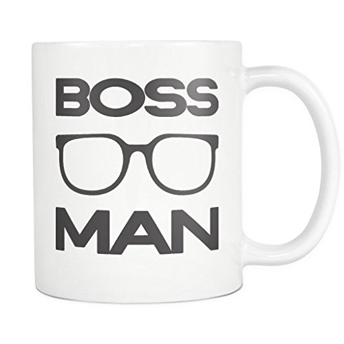 BOSS MAN with Glasses Coffee Mug, PERFECT PERSONALIZED MEN GIFT for Boss Husband Boyfriend Father Son Guy! Attractive Durable White Ceramic Mug STYLE 3 (11oz., Black - Plus With Sunglasses Sign Logo