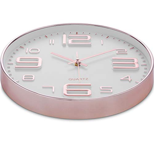 Bernhard Products Rose Gold Wall Clock 12 Inch Silent Non-Ticking Quality Quartz Battery Operated Easy to Read Decorative Modern Design for Home/Office/Kitchen/Bedroom/Living Room (Rose Gold & White)