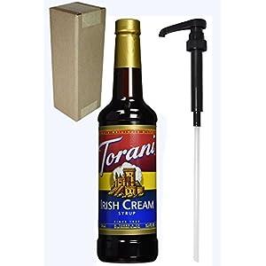 Torani Irish Cream Flavoring Syrup, 750mL (25.4 Fl Oz) Glass Bottle, Individually Boxed, With Black Pump