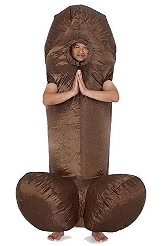 Wecloth Halloween Costume Inflatable Suit Cosplay White Brown Penis Dress Costume  Brown