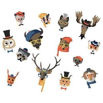 Hipster Woodland Animal Heads Self-Adhesive Wall - Hipster Products
