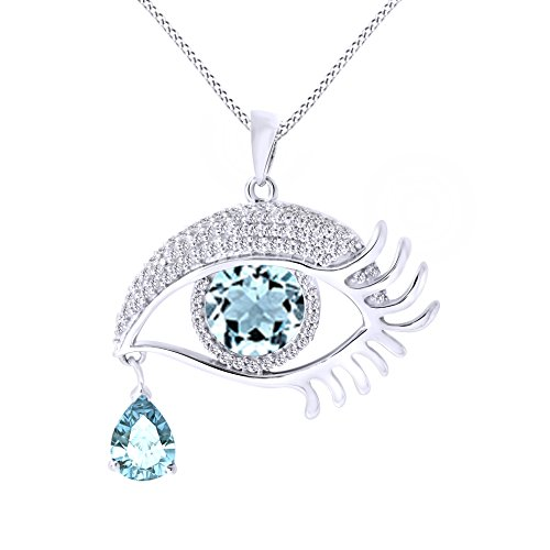 - Jewel Zone US Angel Eye Teardrop Simulated Aquamarine Pendant Necklace in 14K White Gold Over Sterling Silver