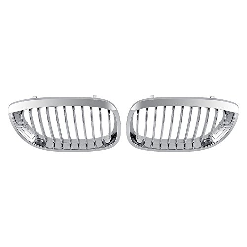 1 Pair of Car Kidney Front Grilles Grill For E46 2-Door 2003-2006 Styling Chrome Covers ()
