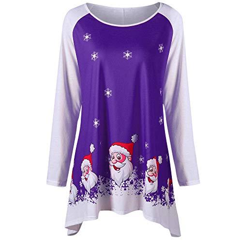 2e03dd95fd FarJing Blouse, Fashion Women O-Neck Blouse Smiling Santa Claus Print Top(L