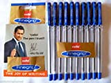 10 X Cello Fine Grip Non-stop Writing Ball Point Pen BLUE Ink Writing Ballpoint Pen # Brand Ad By Indian Cricketer Mahindera Singh Dhoni