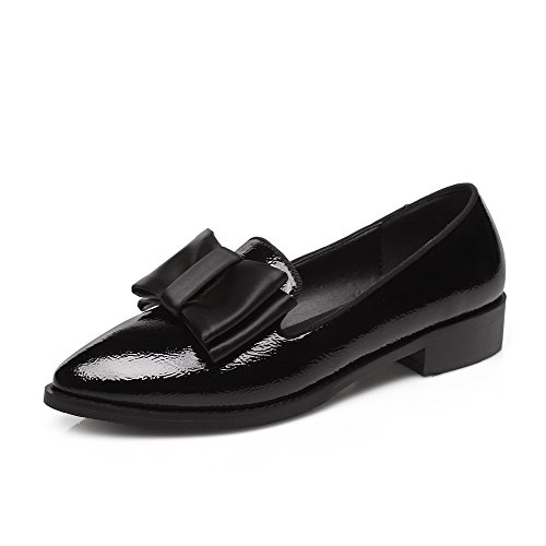 Shoes Closed Women's On Solid Pumps Pull Low Toe Pointed Heels Leather Patent Black WeiPoot w7xSIx