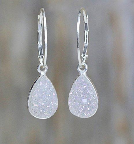"""Dainty White Druzy Teardrop Sterling Silver Pear Drop Earrings - 1"""" Length"""
