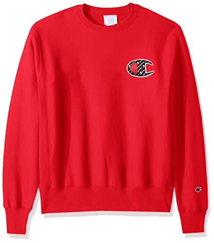 Champion LIFE Men's Reverse Weave Sweatshirt, Team red Scarlet/Sublimated c Logo, X-Large