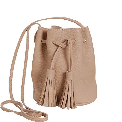 Humble Chic Mini Tassel Bucket Bag Small Vegan Leather Drawstring Crossbody Shoulder Purse, Tan