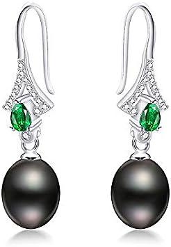 EHEDHXG Perlas de Agua Dulce Naturales Pendientes de Gota para Las Mujeres Pendientes Largos de Piedras Preciosas Verdes Joyas de Plata esterlina Moda