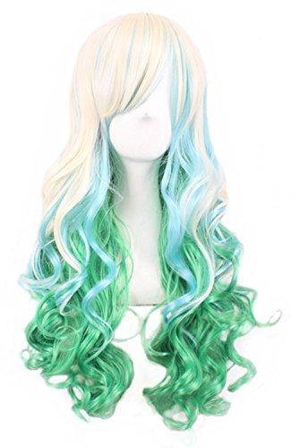 TLT Gradient Cosplay Anime Wigs COS Harajuku Style Colorful Women Long Curly Hair Wigs Lolita(Light green + Beige) BU036C - Volumizing Wig