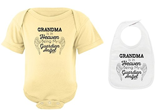 Remembrance Gifts Grandma in Heaven Being Guardian Angel Banana Bodysuit White Bib Bundle 6 Months (Words Of Sympathy For Loss Of Newborn Baby)