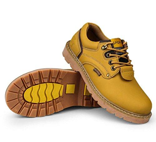 zapatos al aire libre de herramientas de cuero de los nuevos hombres se deslizan los zapatos resistentes de los hombres para ayudar a granel de baja golden yellow