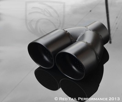 - Exhaust Muffler Tip Dual Round Double Black Wall Resonated And Staggered 2.5