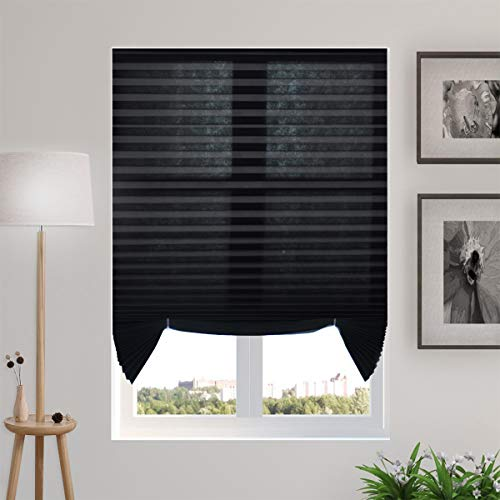 TFSKY Pleated Shades Pull Down Blinds Cordless Shades Temporary Blinds 36″x72″ for Window & Home, Black, 3-Pack