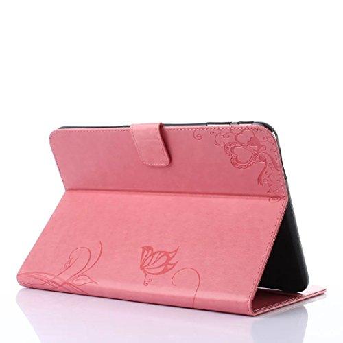 SRY-Funda móvil Samsung Samsung Tab 4 10.1 pulgadas T530 T531 Funda de la caja, Retro Folio Flip Funda de flores en relieve Patrón de la mariposa Funda para Samsung Tab 4 10.1 pulgadas T530 T531 ( Col Pink