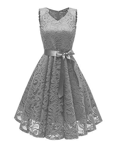 Prom Short Bridesmaid Neck Lace Dress Women's Dress CACHOR Dress 70's V Gray Party naZqxg0C8w