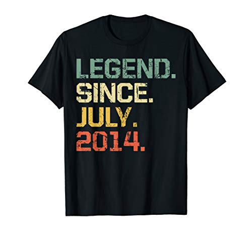 Legend Since July 2014 T-Shirt- 5 Years Old Shirt Gift