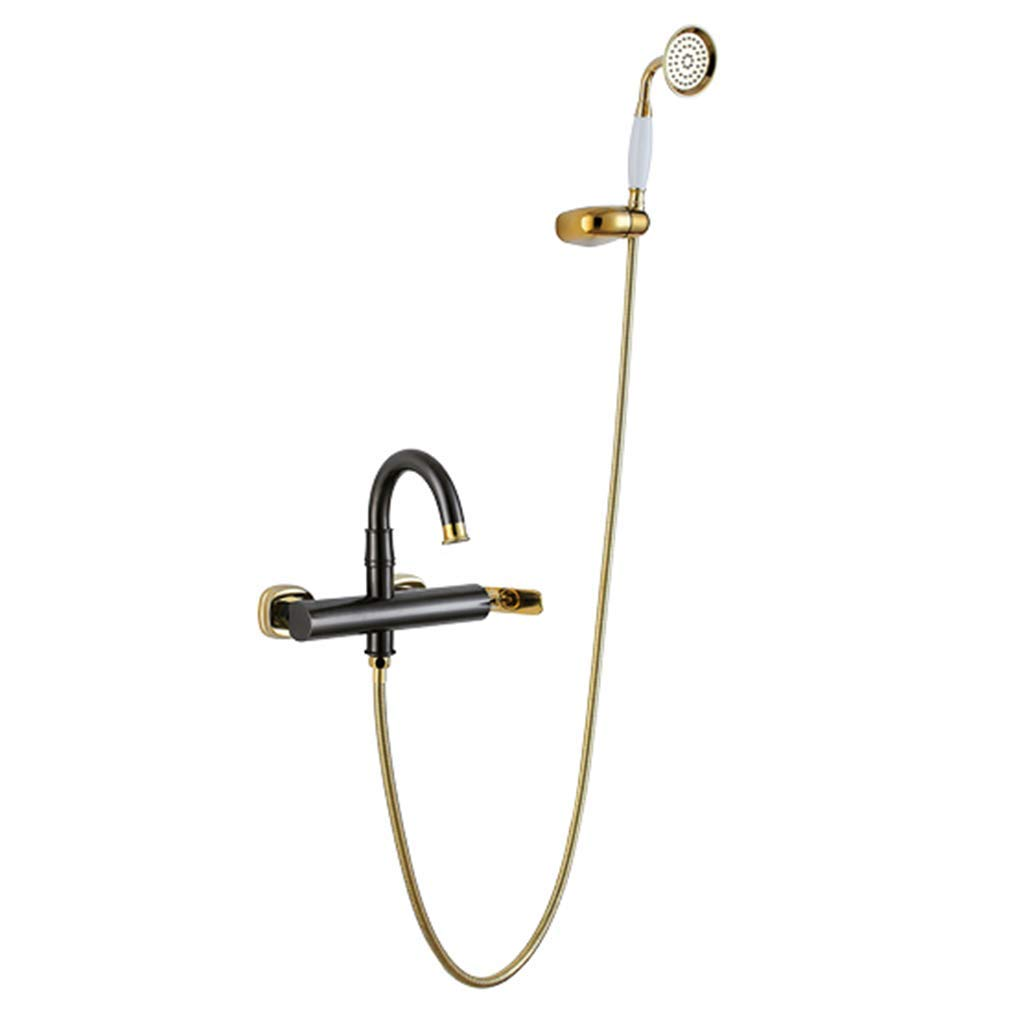 Black 150cm Handheld Showers Shower system Shower set Bathtub faucet shower set Hot and cold double wall mounted shower (color   gold, Size   150cm)