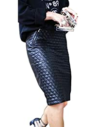 Women's Leather Skirt Genuine Soft Lambskin Leather Knee-Length Skirt RK001