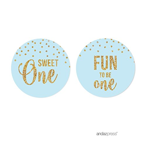 Andaz Press Light Blue Gold Glitter Boy's 1st Birthday Party Collection, Round Cupcake Topper DIY Party Favors Kit, 20-Pack ()