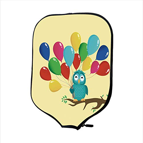 Neoprene Pickleball Paddle Racket Cover Case/Cute owl sitting on a branch and holding many colorful balloons Greeting card or birthday and Valentine s Day invitation Vector illustration/Fit For Most R