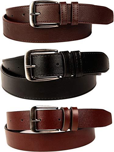SORSHORE Men's Leather Belt (Pack of 3)