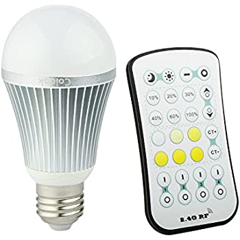 Coidak 9W E26 Dimmable LED Light Bulb, Warm - Cool White Color Temperature Adjustable, with 2.4G RF Wireless Remote Controller (Not IR), Incandescent Equivalent 63 Watt, A19 Lamp