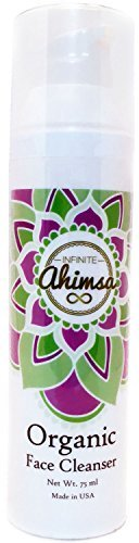 Organic Face Cleanser Moisturizing Facial Wash with Sunflower Oil, Coconut Oil, Olive Oil, Shea Butter, Aloe Juice & Spearmint Oil by Infinite Ahimsa
