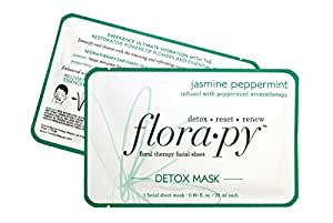 Aromatherapy Facial Sheet Mask - Hydrating - Essential Oils - Detox Jasmine Peppermint (Single) by Florapy Beauty