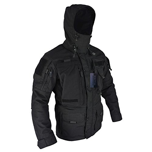 Multi Pocket Hooded Coat Hunting Molle Military Tac Jackets Hard Shell Parka Outerwear (Black, L) ()