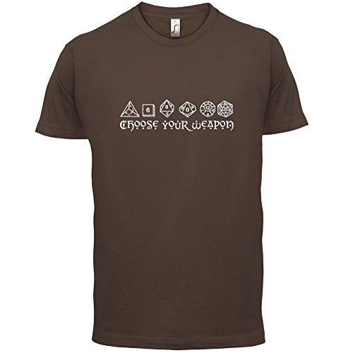 Choose your Weapon (D&D Dice) - Mens T-Shirt - Chocolate - XS (Chocolate D And D Dice compare prices)