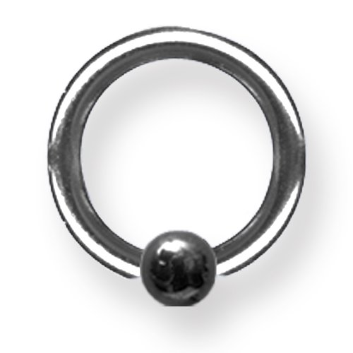 body jewelry Solid Titanium Captive 12G (2mm) 3/8 (10mm) Dia w 4mm Captive Ball Blac BCTTT12-40-4-BKZ<BR> ()