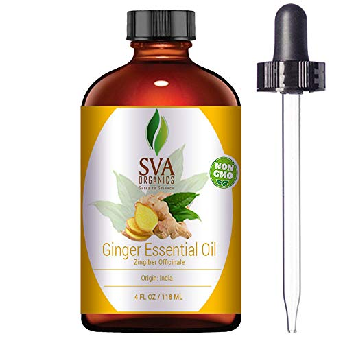 SVA Organics Ginger Essential Oil - 4 Oz 100% Pure and Natural Therapeutic Grade | Supports Digestion,Reduces Inflammation,Anti- Oxidant and more benefits