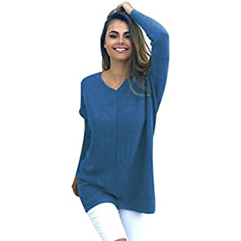 Gillberry Women's Sexy Casual Long Sleeve Jumper Sweaters Coat Blouse Tops Shirt For Small Blue