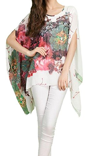 iNewbetter Women's Chiffon Floral Print Tunic Top Cute Cover Up One Size Scarf Top White