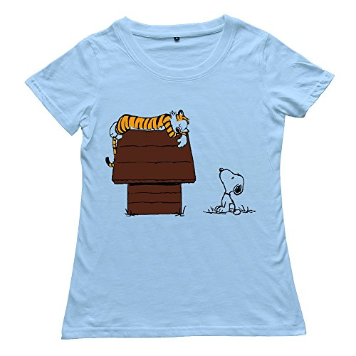 Custom Calvin And Hobbes Tiger On Doghouse Snoopy Women's Tshirt White