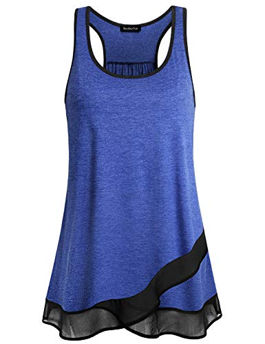 DayDayFun Athletic Clothing Women Tops, Juniors Sleeveless Sports Working Out Ribbed Tank Shirts Casual Activewear Patchwork Chiffon Feminine A Line Cute Tops (Blue M)