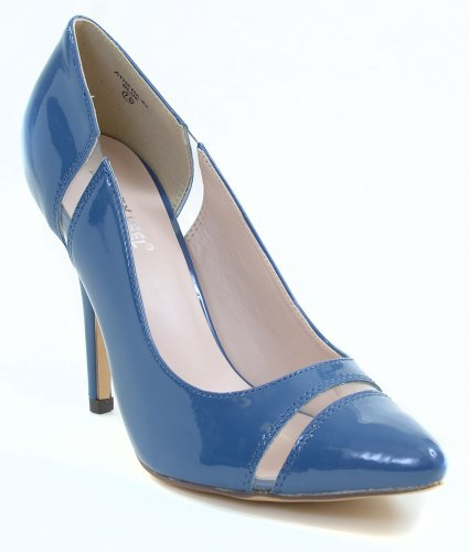 Fourever Funky Women's Clear Patent Pointy-Toe Classic Pump Blue XYJHC