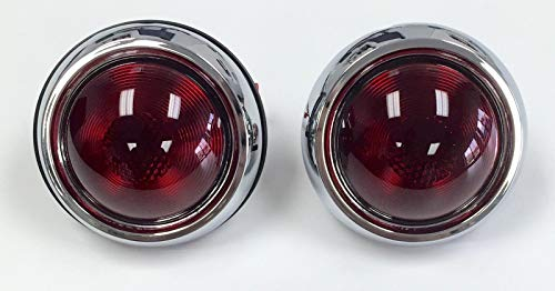 (Hot Rod 1950 Pontiac Style Glass Lens Tail Lights Pair Rat Rod)