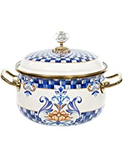 """Red Co. Vintage Enamel Cookware Small 7"""" Induction Stockpot with Blue Floral Design and Gold Trim with Crystal Knob Lid, 2.2 Quart"""