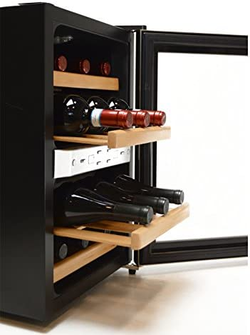 Opinión sobre Weinkühler Vino Frigorífico   Enfriador de Vino Enfriador de Bebida   Minibar Combi   para 12 x Botellas de Vino, con estantería de Madera auténtica Sistema