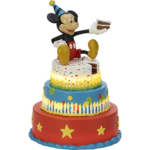 (Precious Moments Disney Showcase Mickey's Birthday Wishes Mickey Mouse Birthday Cake LED Tabletop Resin Figurine)
