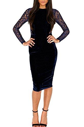 blue velvet midi dress - 4