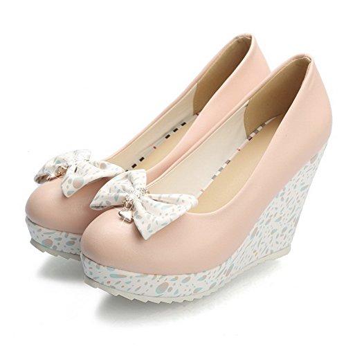 Ympäri Naisten Suljetun Korkokenkiä Kiinteä kengät Pinkki Allhqfashion pumppuihin Pehmeä Pull Toe Materiaali 57RHqn