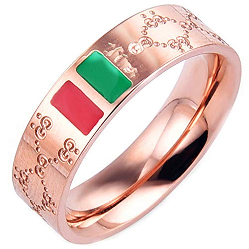 Fly.Dream Fashion Luxury Shine Celebrity Ring Classic Red and Green Bar Titanium Steel Ring (Rose Gold, ()